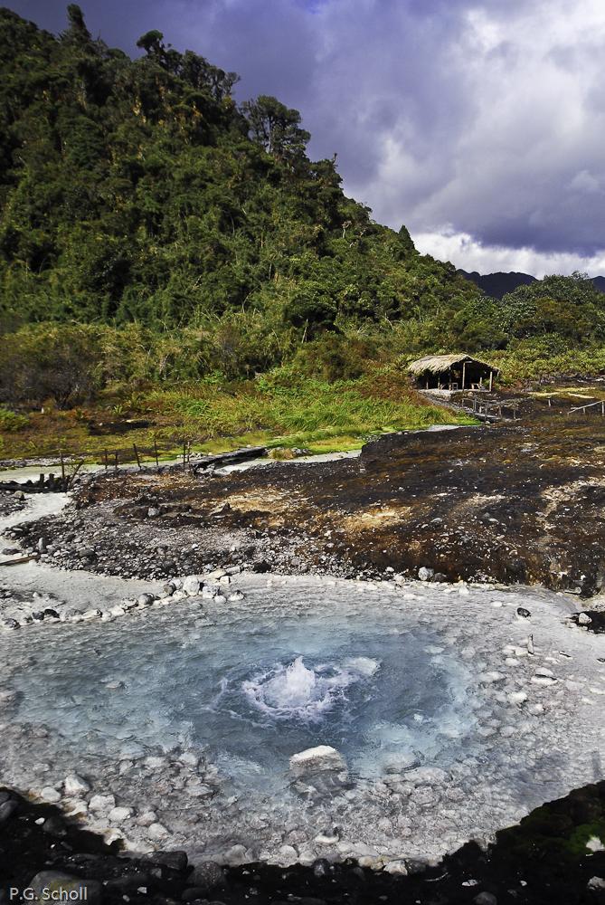 Source de la rivière blanche, thermes de San Juan, volcan Purace