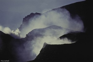 Le cratère du Volcan Galeras, Colombie