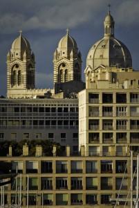 La Major et les immeubles pouillons, Marseille, France.