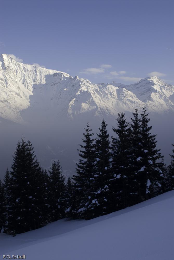 Neige, Sapins et Mont Blanc