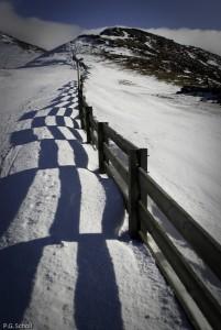 Neige et barrière sur les monts du Cantal, Auvergne, France.