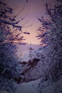 Vue matinale sur le Puy de Dôme depuis le Pariou, Auvergne, Fran