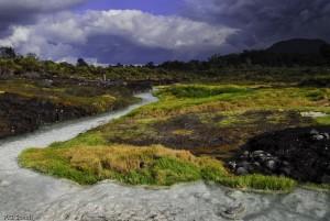 La rivière blanche des thermes de San Juan, Volcan Purace, Colom