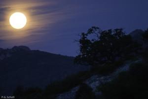 Lever de lune dans la Drôme, Rochebrune, France.