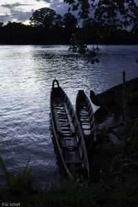 Pirogues sur le fleuve Maroni, Guyane Française.
